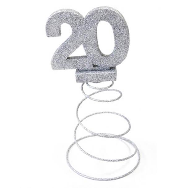 Centre de table anniversaire 20ans argent 1