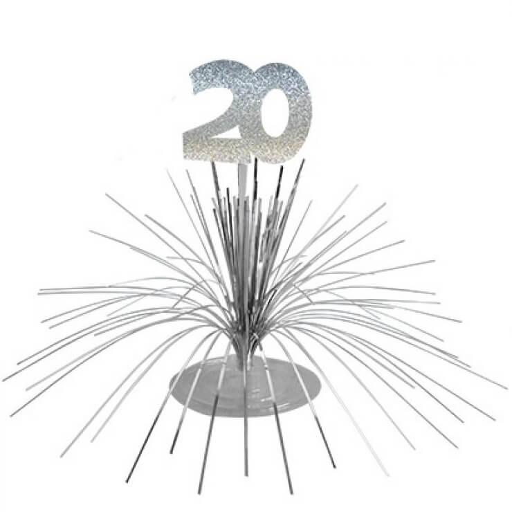 Centre de table anniversaire 20ans argent 2