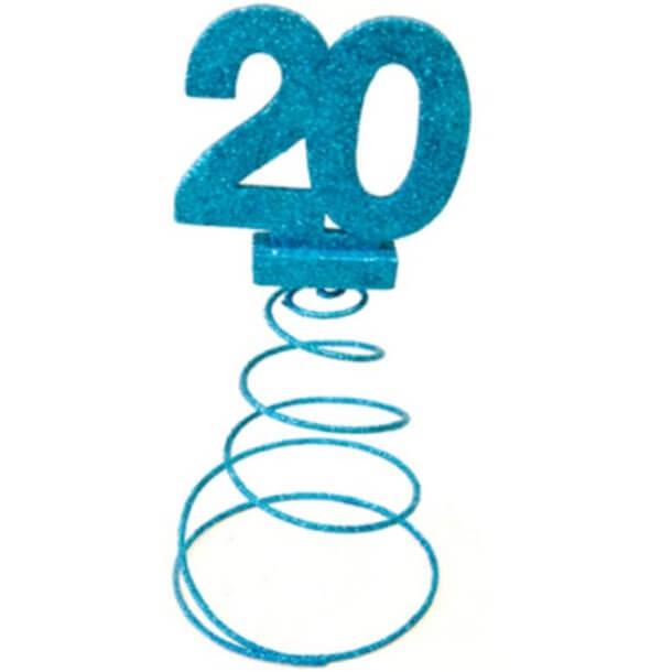 Centre de table anniversaire 20ans bleu turquoise