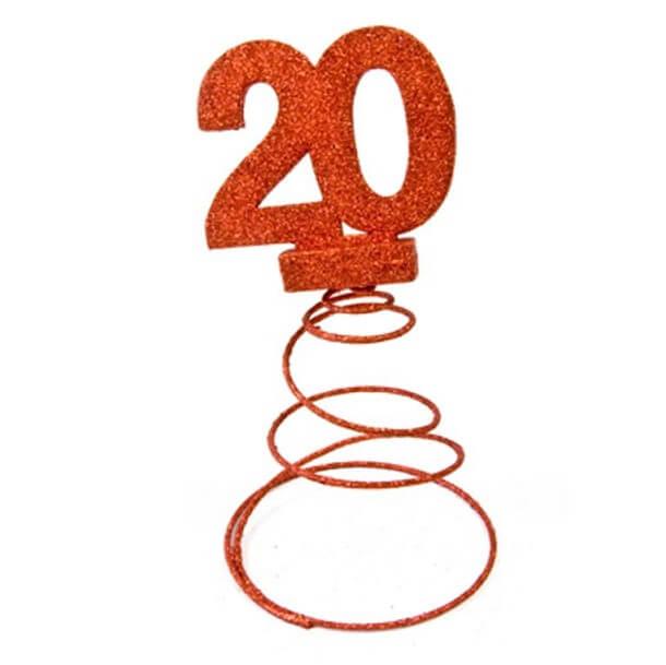 Centre de table anniversaire 20ans rouge