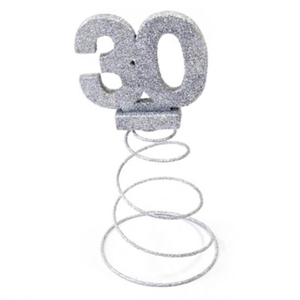Centre de table anniversaire 30ans argent 1