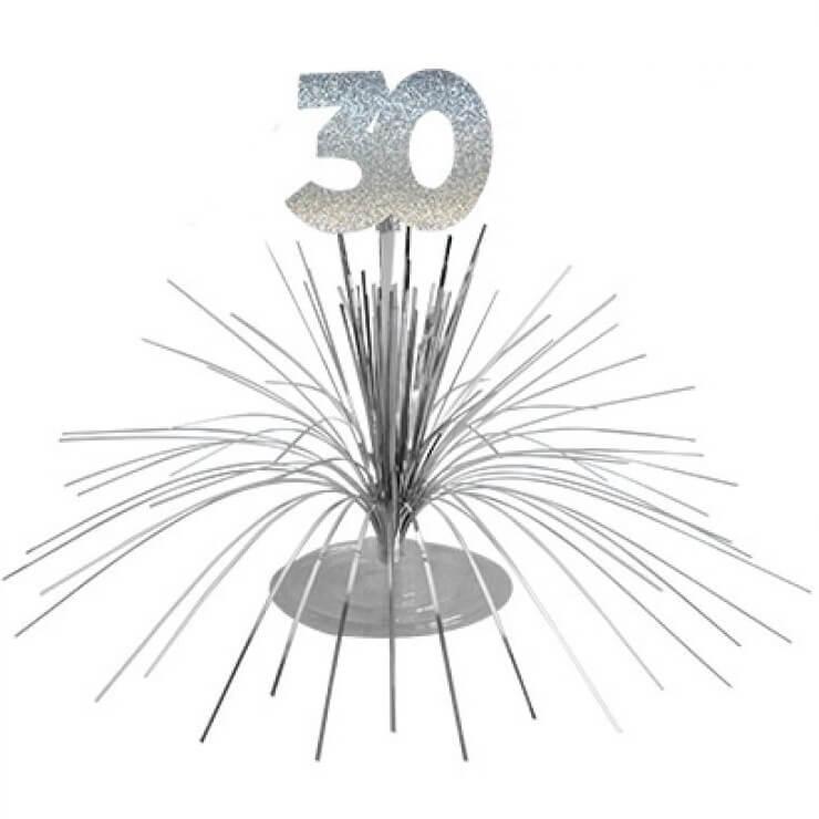 Centre de table anniversaire 30ans argent 2