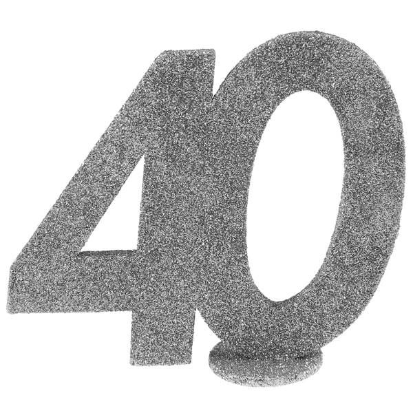 Centre de table anniversaire 40 ans argent paillete