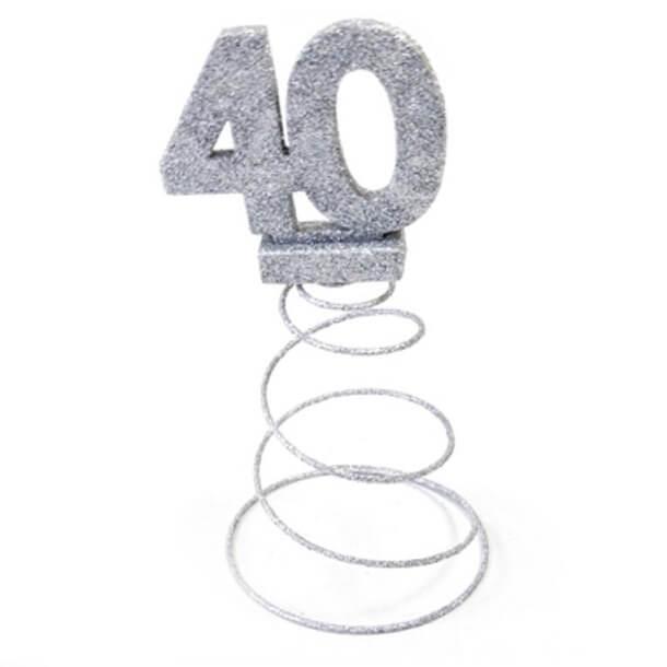 Centre de table anniversaire 40ans argent 1