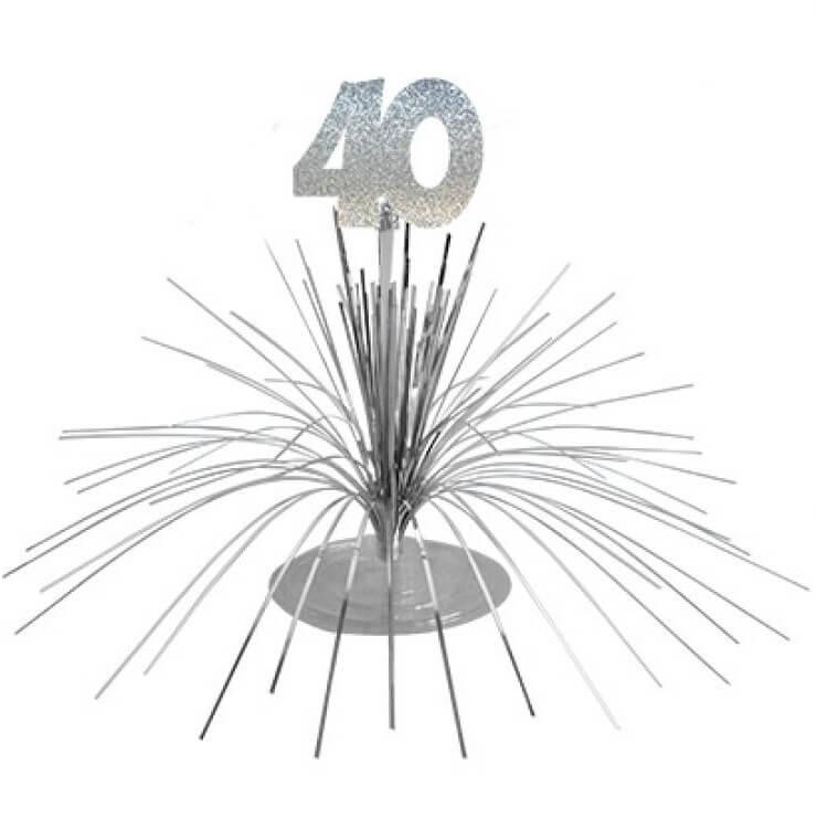 Centre de table anniversaire 40ans argent 2