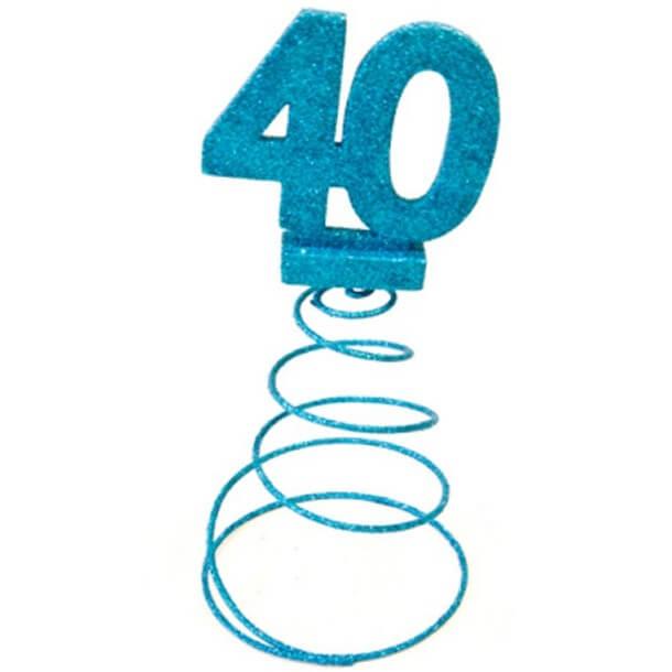 Centre de table anniversaire 40ans bleu turquoise