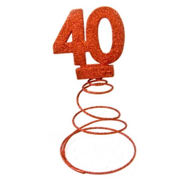 Centre de table anniversaire 40ans rouge