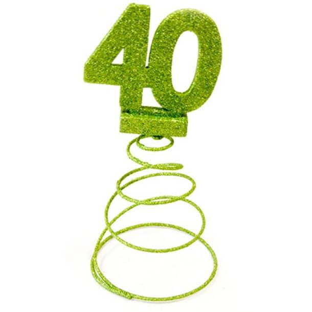 Centre de table anniversaire 40ans vert