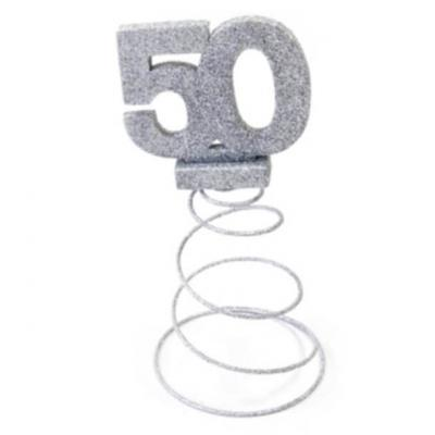 Centre de table anniversaire argent 50ans (x1) REF/DEC768/50