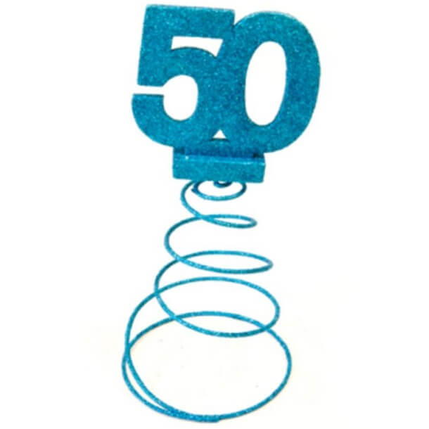 Centre de table anniversaire 50ans bleu turquoise
