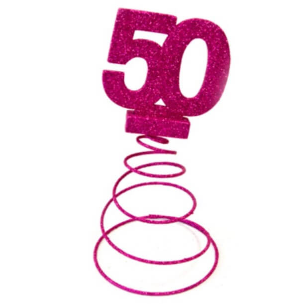 Centre de table anniversaire 50ans fuchsia