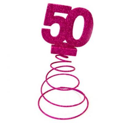 Centre de table anniversaire fuchsia 50ans (x1) REF/DEC768/50