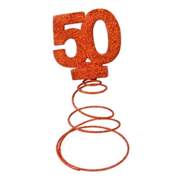 Centre de table anniversaire 50ans rouge