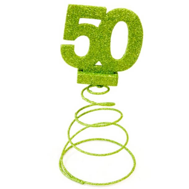 Centre de table anniversaire 50ans vert