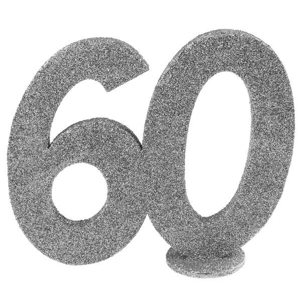 Centre de table anniversaire 60 ans argent paillete