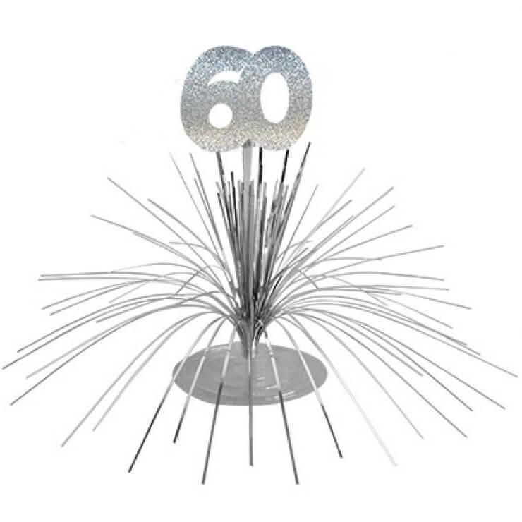 Centre de table anniversaire 60ans argent 2