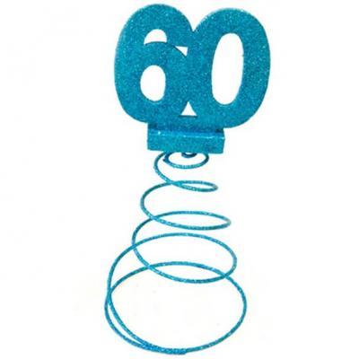 Centre de table anniversaire bleu turquoise 60ans (x1) REF/DEC768/60
