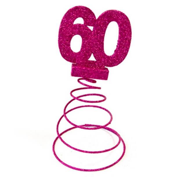 Centre de table anniversaire 60ans fuchsia