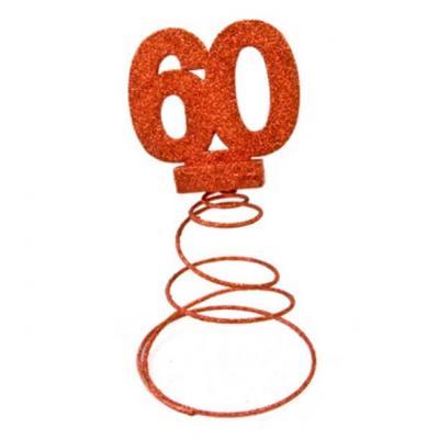 Centre de table anniversaire rouge 60ans (x1) REF/DEC768/60