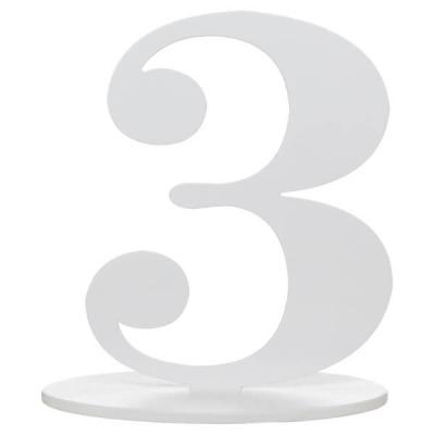 Marque-table anniversaire chiffre 3: Blanc (x1) REF/5051