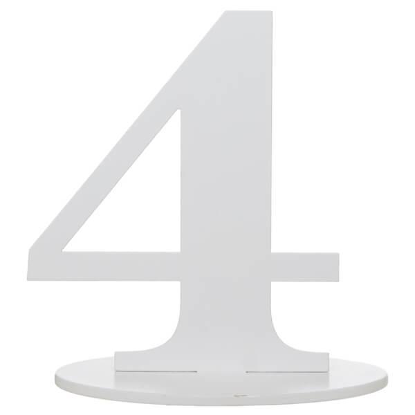 Centre de table anniversaire blanc en bois chiffre 4