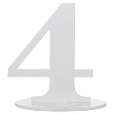Marque-table anniversaire chiffre 4: Blanc (x1) REF/5051