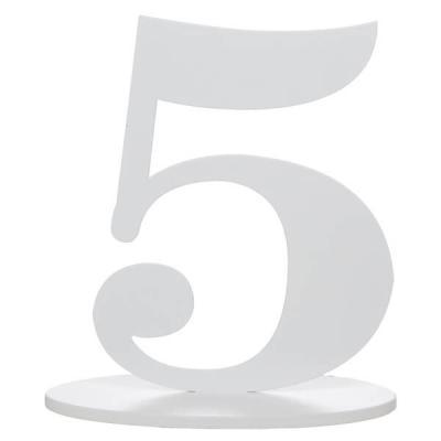Marque-table anniversaire chiffre 5: Blanc (x1) REF/5051