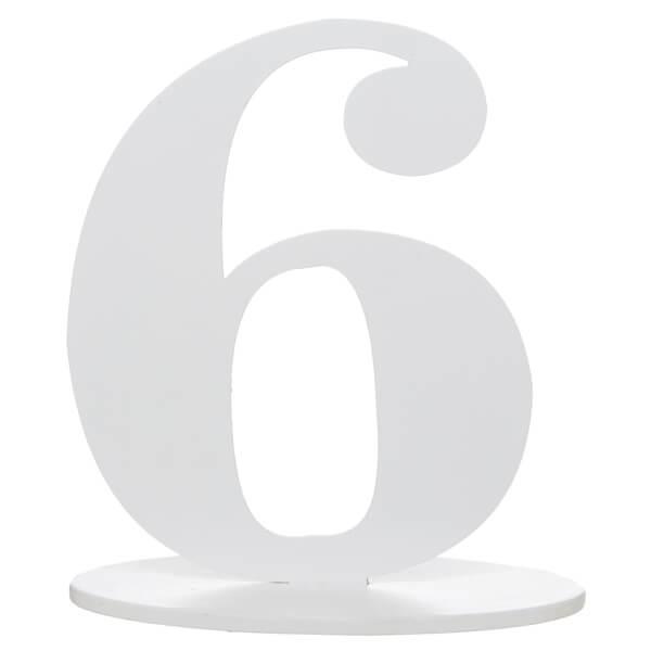 Centre de table anniversaire blanc en bois chiffre 6