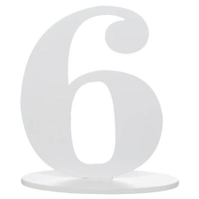 Marque-table anniversaire chiffre 6: Blanc (x1) REF/5051