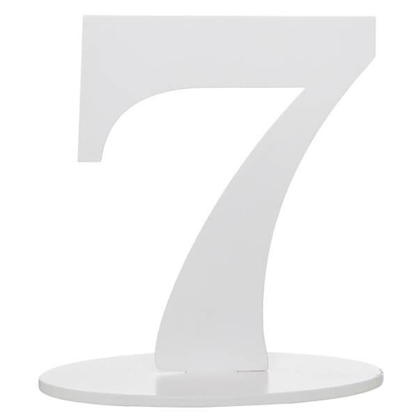 Centre de table anniversaire blanc en bois chiffre 7