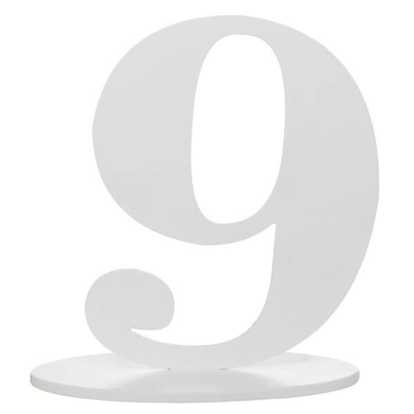 Centre de table anniversaire blanc en bois chiffre 9