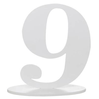 Marque-table anniversaire chiffre 9: Blanc (x1) REF/5051