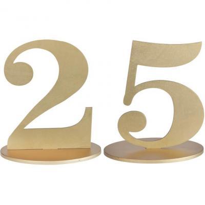 Décoration de table anniversaire chiffre 25 en bois doré métallisé REF/6184