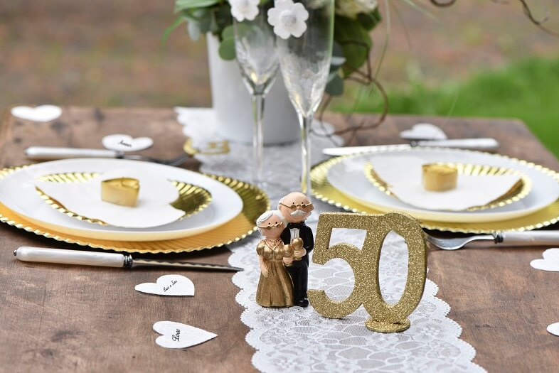 Centre De Table Anniversaire Or 50ans X1 Ref4753