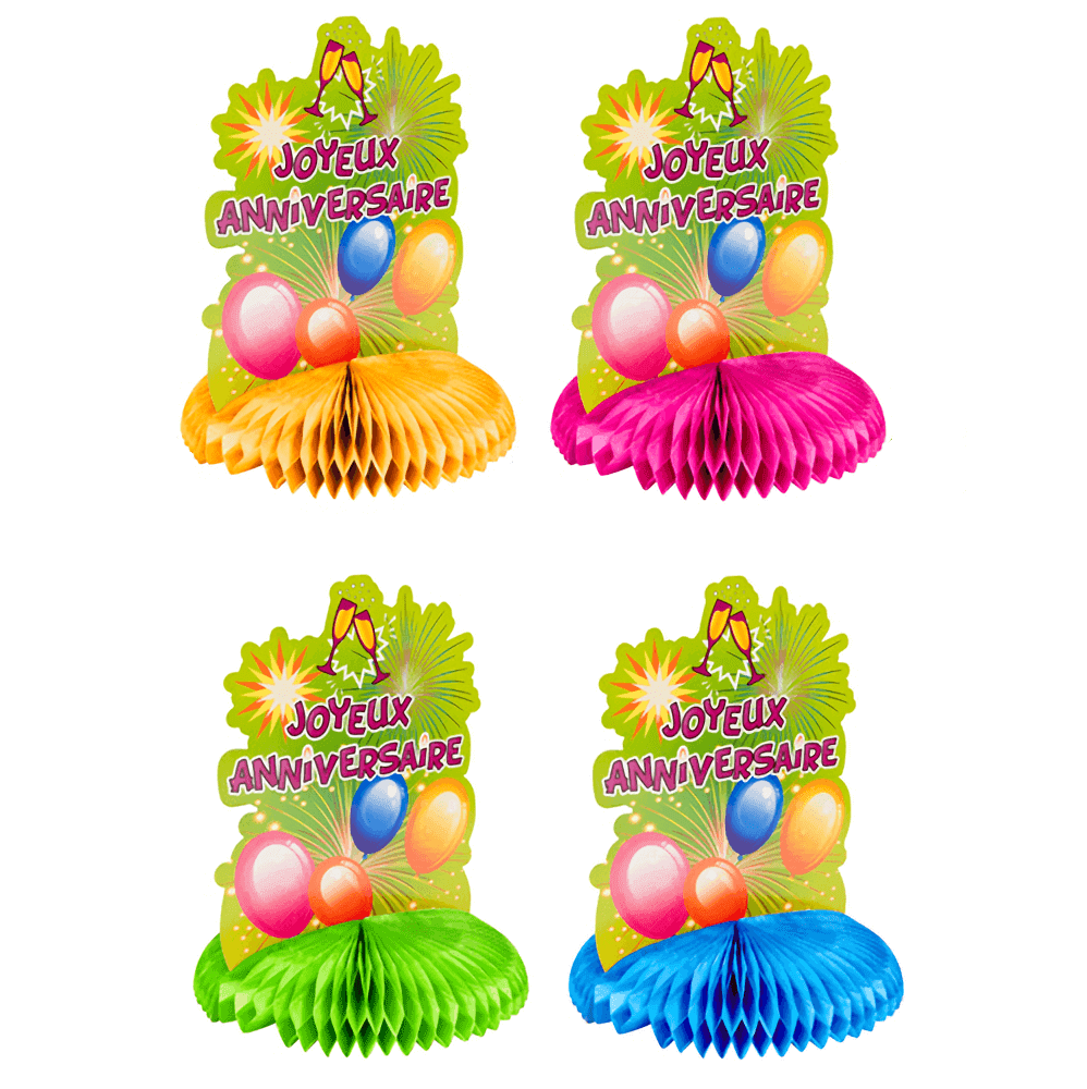 Centre de table anniversaire multicolore