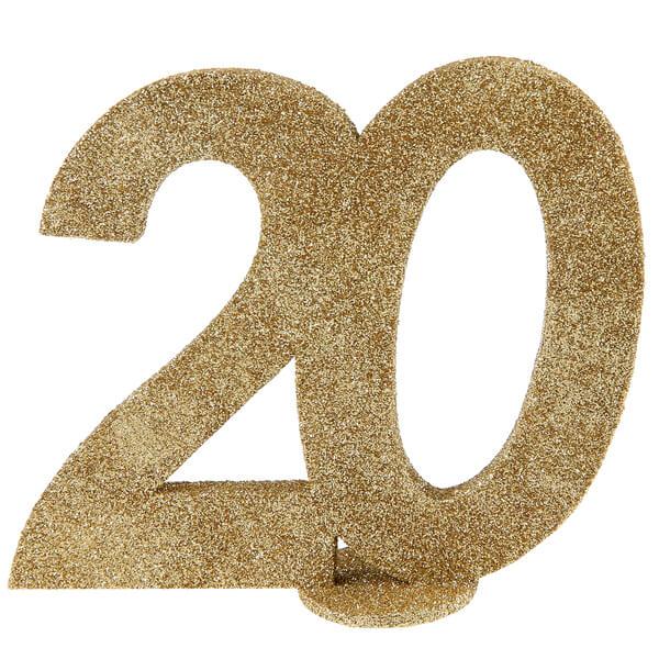 Centre de table anniversaire or paillete 20ans