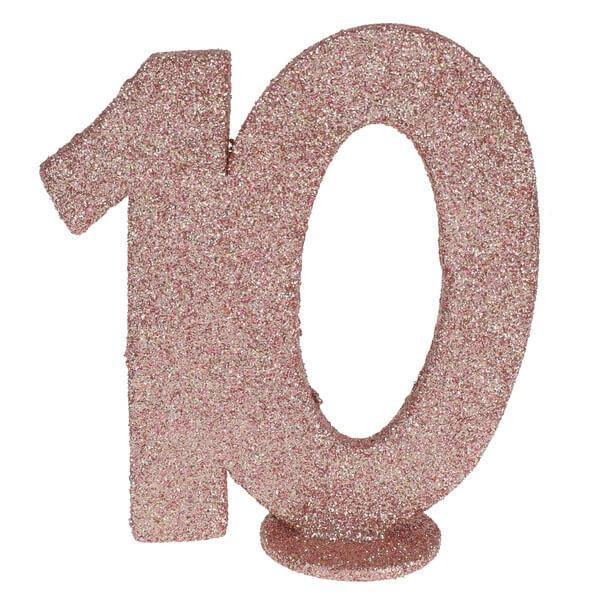 Centre de table anniversaire rose gold 10ans avec paillettes