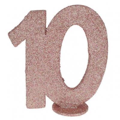 Centre de table anniversaire 10ans rose gold pailleté (x1) REF/6915