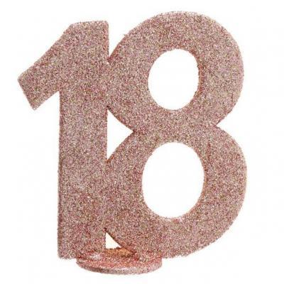 Centre de table anniversaire 18ans rose gold pailleté (x1) REF/6915