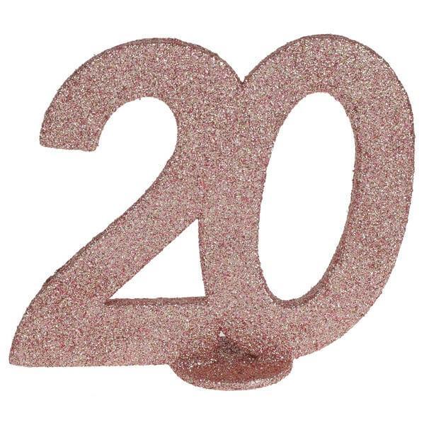 Centre de table anniversaire rose gold 20ans avec paillettes