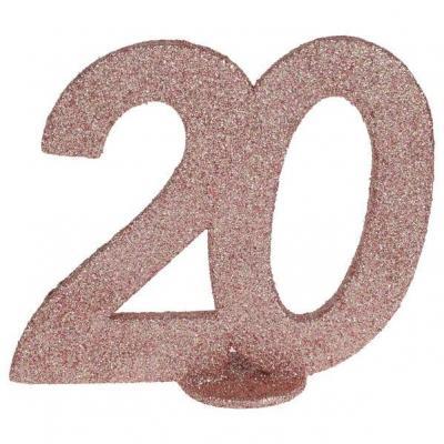 Centre de table anniversaire 20ans rose gold pailleté (x1) REF/6915