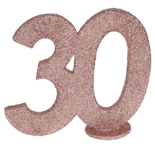 Centre de table anniversaire rose gold 30ans avec paillettes