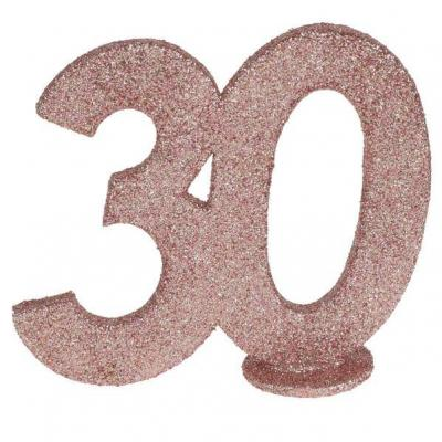 Centre de table anniversaire 30ans rose gold pailleté (x1) REF/6915
