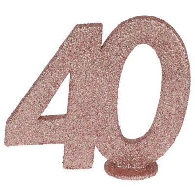 Centre de table anniversaire 40ans rose gold pailleté (x1) REF/6915