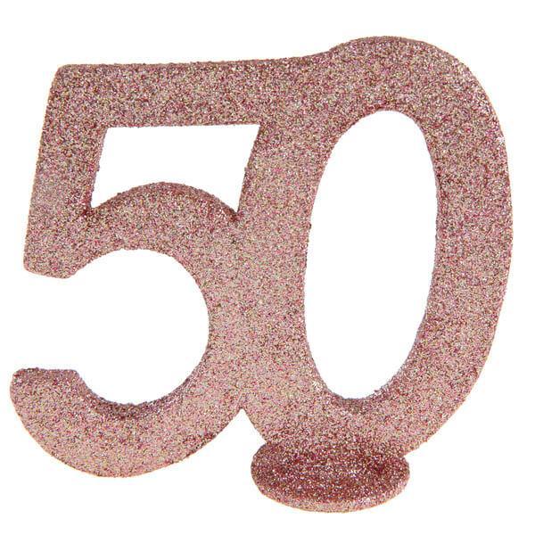 Centre de table anniversaire rose gold 50ans avec paillettes