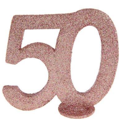 Centre de table anniversaire 50ans rose gold pailleté (x1) REF/6915
