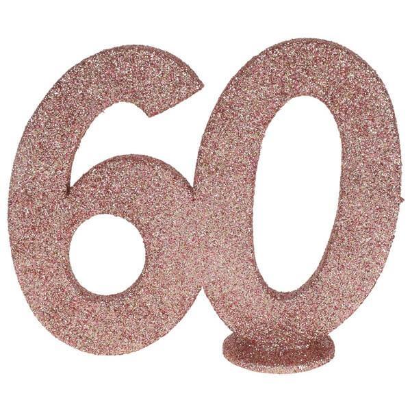 Centre de table anniversaire rose gold 60ans avec paillettes