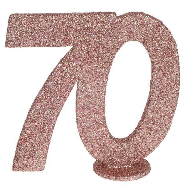 Centre de table anniversaire rose gold 70ans avec paillettes
