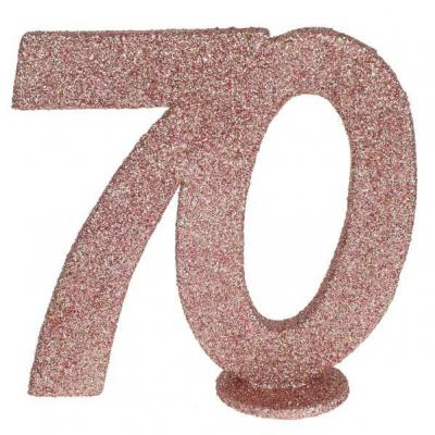 Centre de table anniversaire 70ans rose gold pailleté (x1) REF/6915