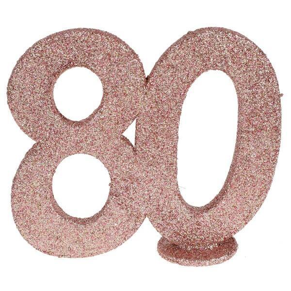 Centre de table anniversaire rose gold 80ans avec paillettes